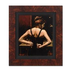 "Fabian Perez, ""Medias Negras VI"" Framed Hand Textured Limited Edition Giclee on"