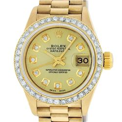 Rolex Ladies 18K Yellow Gold Champagne Diamond President Wristwatch 26MM