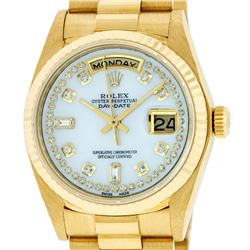 Rolex Mens 18K Yellow Gold Mother Of Pearl Diamond Quickset President Wristwatch