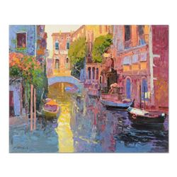 "Ming Feng, ""Sunlit Canal"" Original Oil Painting on Canvas, Hand Signed with Lett"