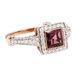 2.56 ctw Square Step Rhodolite Garnet And Round Brilliant Cut Diamond Ring - 18K