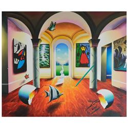 "Ferjo, ""Surrealistic Interior"" Original Painting on Canvas, Hand Signed with Let"