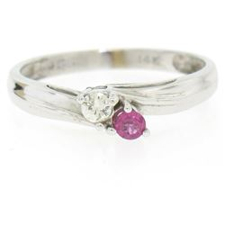 14k White Gold 0.17 ctw Ruby & Diamond Petite Bypass Promise Birthstone Ring