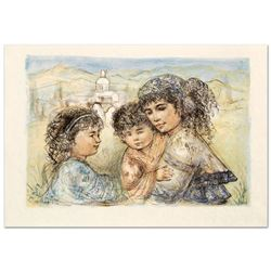 """Zalina with Aries and Ande"" Limited Edition Lithograph by Edna Hibel (1917-2014"