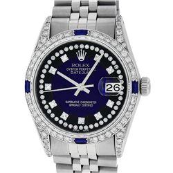 Rolex Mens Stainless Steel Diamond Lugs Blue Vignette & Sapphire Datejust Wristw