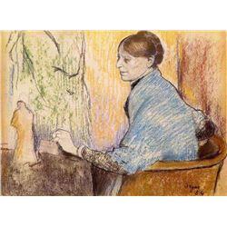 Edgar Degas - Mme Henri Rouart Before A  Statue