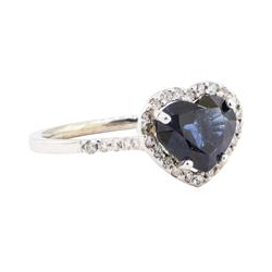 2.66 ctw Sapphire And Diamond Ring - 18KT White Gold