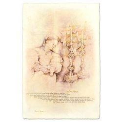 "Brachi Horen, ""Candle Prayer"" Hand-Embellished Mixed Media with Goldleaf, Hand S"