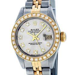 Rolex Ladies 2 Tone Silver VS Diamond Datejust 26MM Oyster Perpetual Wristwatch