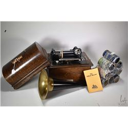 Antique oak cased Edison Standard portable phonograph complete with trumpet and lidded case plus ten
