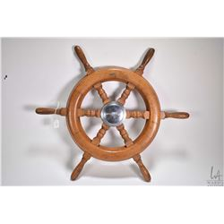 """Vintage RideGuide Canadian made wooden ships wheel circa 1950's, 21"""" round"""