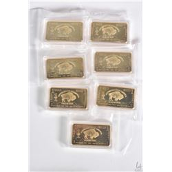 Seven gold PLATED United states of American buffalo bullion bars