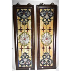 "Two framed stained and leaded glass panels, each with overall dimension of 39"" X 12"""