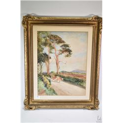 """Gilt framed original watercolour landscape with cattle signed by artist R. Joblin, 15"""" X 11 1/2"""""""