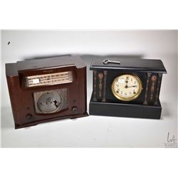 Wood cased Sessions mantle clock with key, trying to work at time of cataloguing and a Philco table