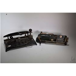 Selection of vintage/antique office equipment including No. Standard hole punch, small desk punch, a