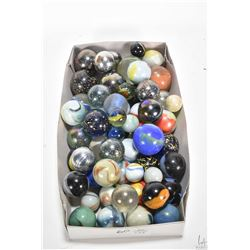 """Selection of vintage collectible marbles ranging in size from 1"""" to 1 3/4"""", approximately 60 count"""