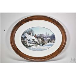 """Framed original watercolour painting labelled on verso """"Hampshire Village in Snow"""" 9 1/2"""" X 13 1/2"""""""