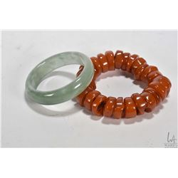 Faux beeswax bracelet and a jadeite bangle