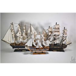 """Three wooden tall ships ranging in size from 12""""-16"""", note these items are not available for shippin"""