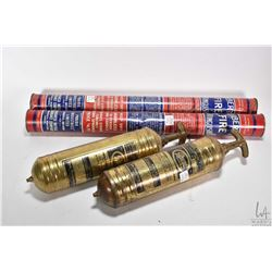 """Two Liberty dry chemical fire extinguishers and two 14"""" brass Pyrene fire extinguishers"""