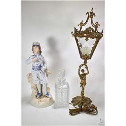 """Antique painted bisque vase statue of Bonnie Prince Charlie 17"""" in height, a gilt figural lamp with"""
