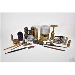 Small tray lot of antique collectibles including a mini brass camp stove, pair of binoculars, two lo