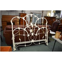 Quality modern antique style wrought iron and brass style queen sized bed including headboard, footb