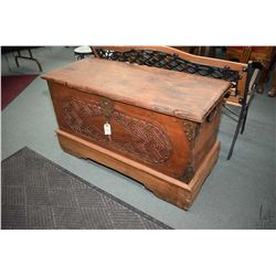 Distressed finish lift lid chest with hand hammered hardware and decoration and carved front panel 2