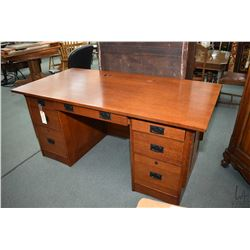 Modern oak mission style double pedestal desk made by Winners Only Inc., Vista California