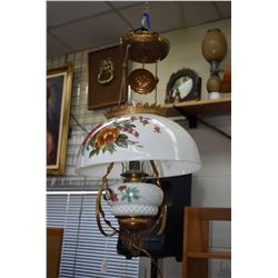 Antique ceiling fixture with pull down adjustable mechanism with electrified oil font and milk glass