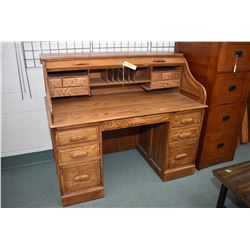 Modern S bend oak roll top double pedestal desk with fitted interior made by Oak Craft