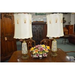 """Two vintage glass table lamps with shades and large Capodimonte floral, some expected damage, 18"""" in"""