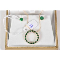 10kt gold neck chain and 10kt gold pendant set with synthetic emerald type stones plus a pair of 14k