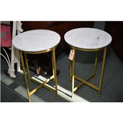 """Two semi contemporary marble top side table 20"""" in height"""