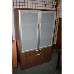 "Modern two drawer, two door office cabinet with frosted glass doors, 58"" in height and 36"" wide"