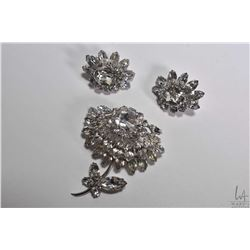 Vintage signed Sherman diamante like blossom brooch and matching earrings