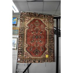 100% handmade wool carpet Hamdan with floral design, red background and highlights of gold, cream et