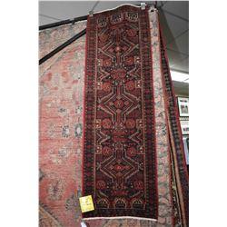 100% handmade wool carpet Baluchi runner with triple medallion and highlights of red, blue, cream et