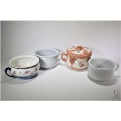Four commodes including Wedgwood & Co., Alfred Meakin, Johnson Bros. plus a lidded ceramic commode