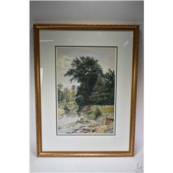 """Gilt framed original watercolour painting labelled on verso """"The Woodland Stream"""" and signed by arti"""
