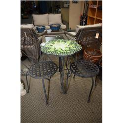 Tile top wrought iron based outdoor table and two co-ordinating side chairs
