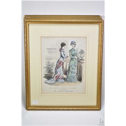 Five gilt framed coloured etchings from the Newest French Fashions Designed for the Ladies' Treasury