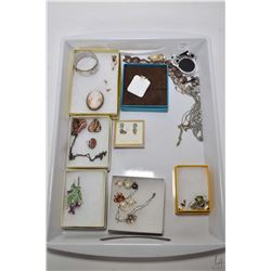 Tray of vintage and collectible jewellery including sterling silver bracelet, vintage carved cameo b