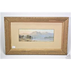 "Antique gilt framed watercolour painting ?Loch Achray? signed by artist P.A. Penley 1971, 5"" X 13"""