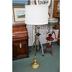 Quality brass coloured Stiffle floor lamp with original shade