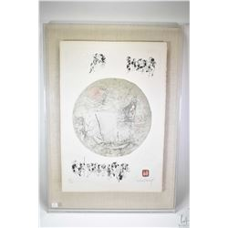 "Floater framed limited edition print aquatint titled ""La Barque et la lune"" by artist Legadang"