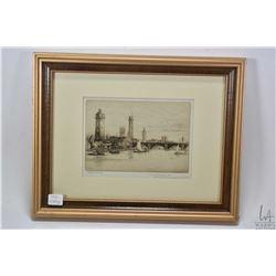 "Three framed vintage etchings including ""The Venetian Fruit Seller"", ""University College, Gower St."