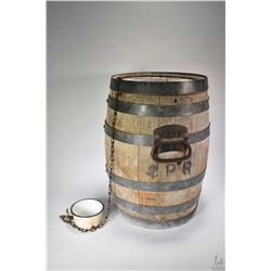 """Antique metal bound oak barrel 17"""" in height with attached handles branded CPR"""