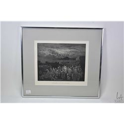 """Two framed etchings including """"The Apparition of the Army in the Heavens"""" and 1913 cathedral interio"""